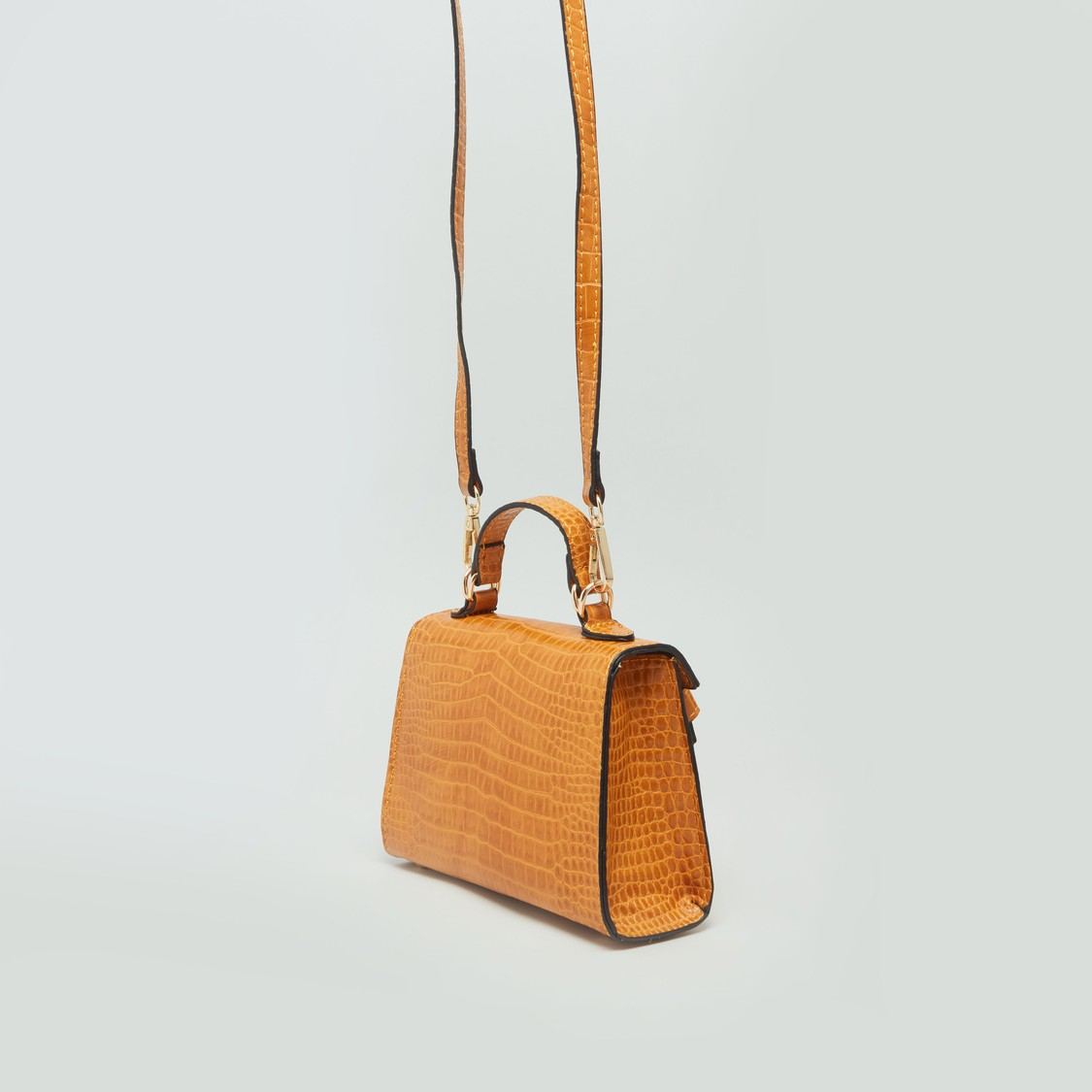 Textured Handbag with Handle Strap and Crossbody Strap