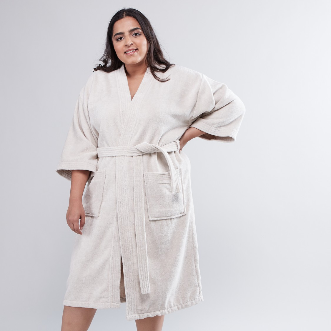 Textured Bathrobe with 3/4 Sleeves and Belt - Double XL