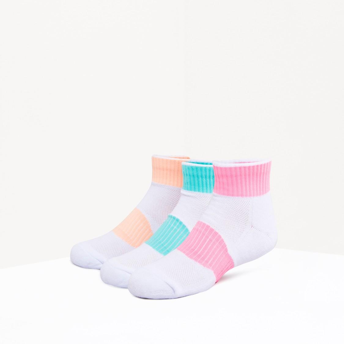 Set of 3 - Striped Half Terry Socks