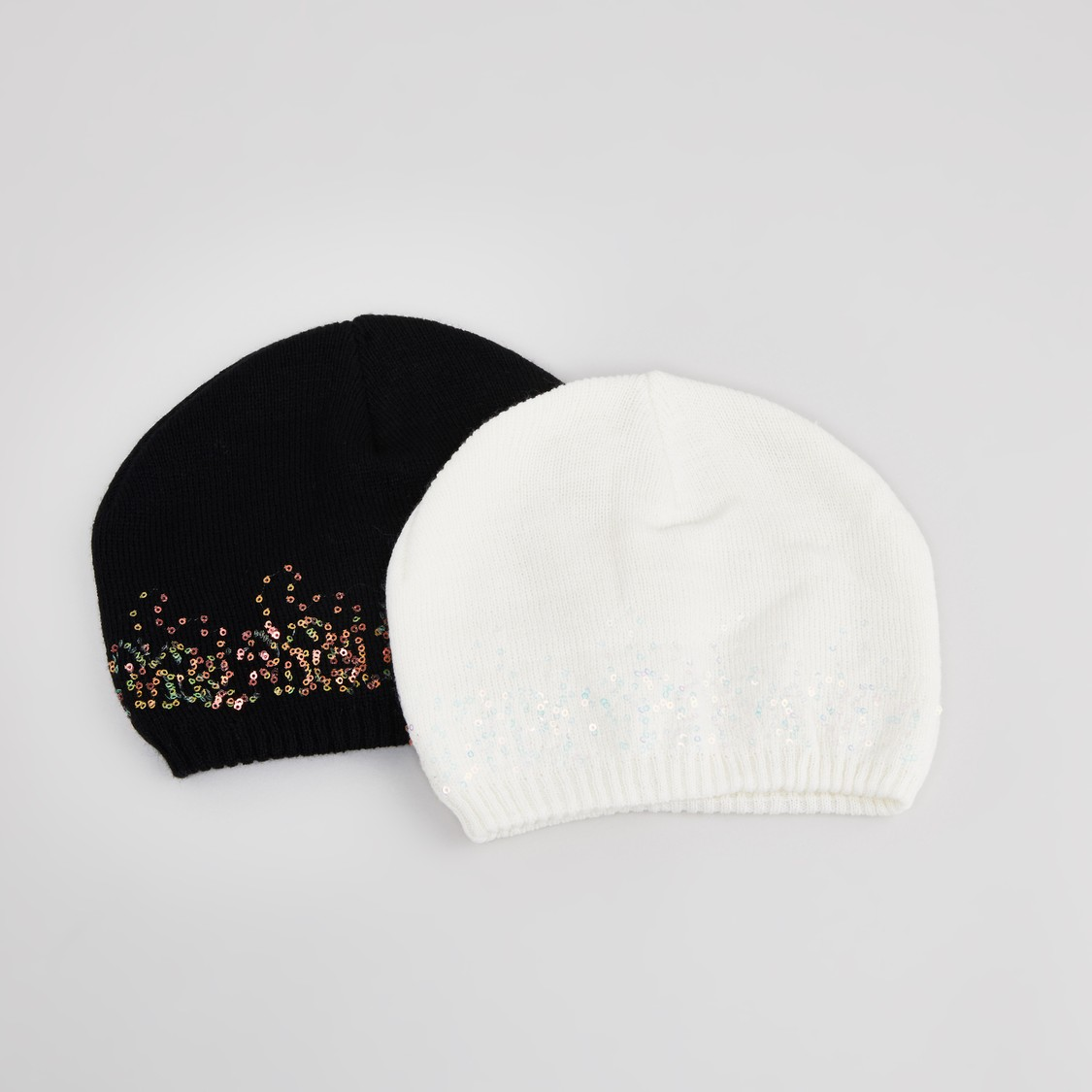 Set of 2 - Textured Beanie Caps with Sequin Detail