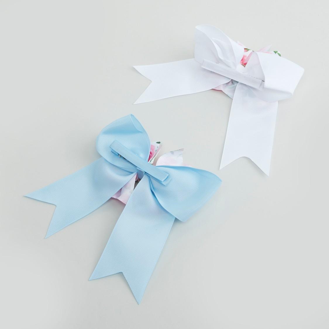 مشبك شعر بتصميم أزهار وفيونكة- طقم من قطعتين