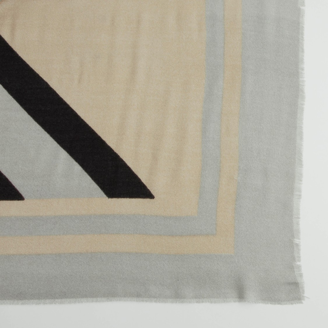 Printed Wide Scarf with Frayed Border