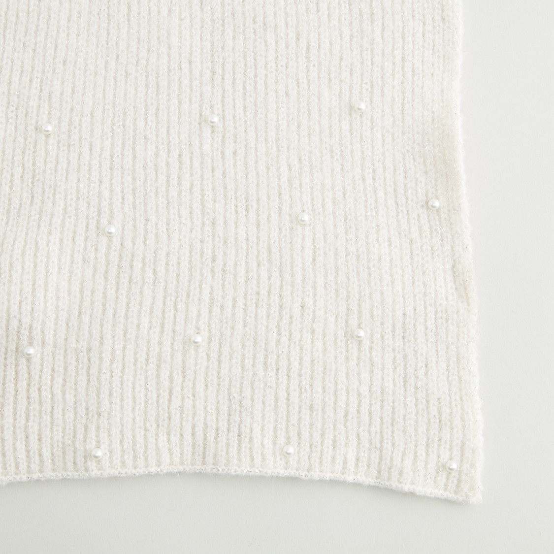 Textured Scarf with Pearl Detail