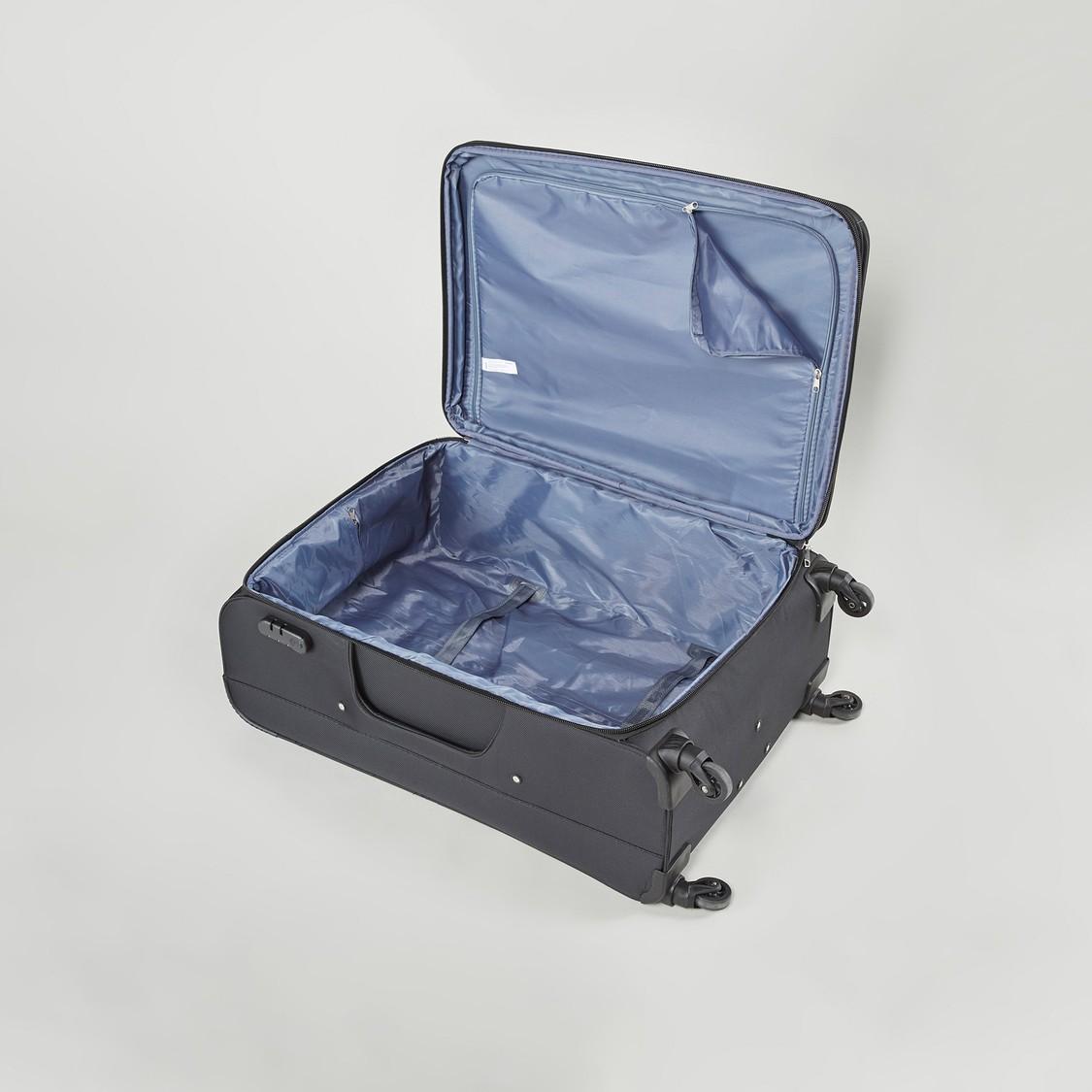 شنطة سفر ناعمة بارزة الملمس بمقبض قابل للسحب وعجلات دوّارة - 47x31x68 سم