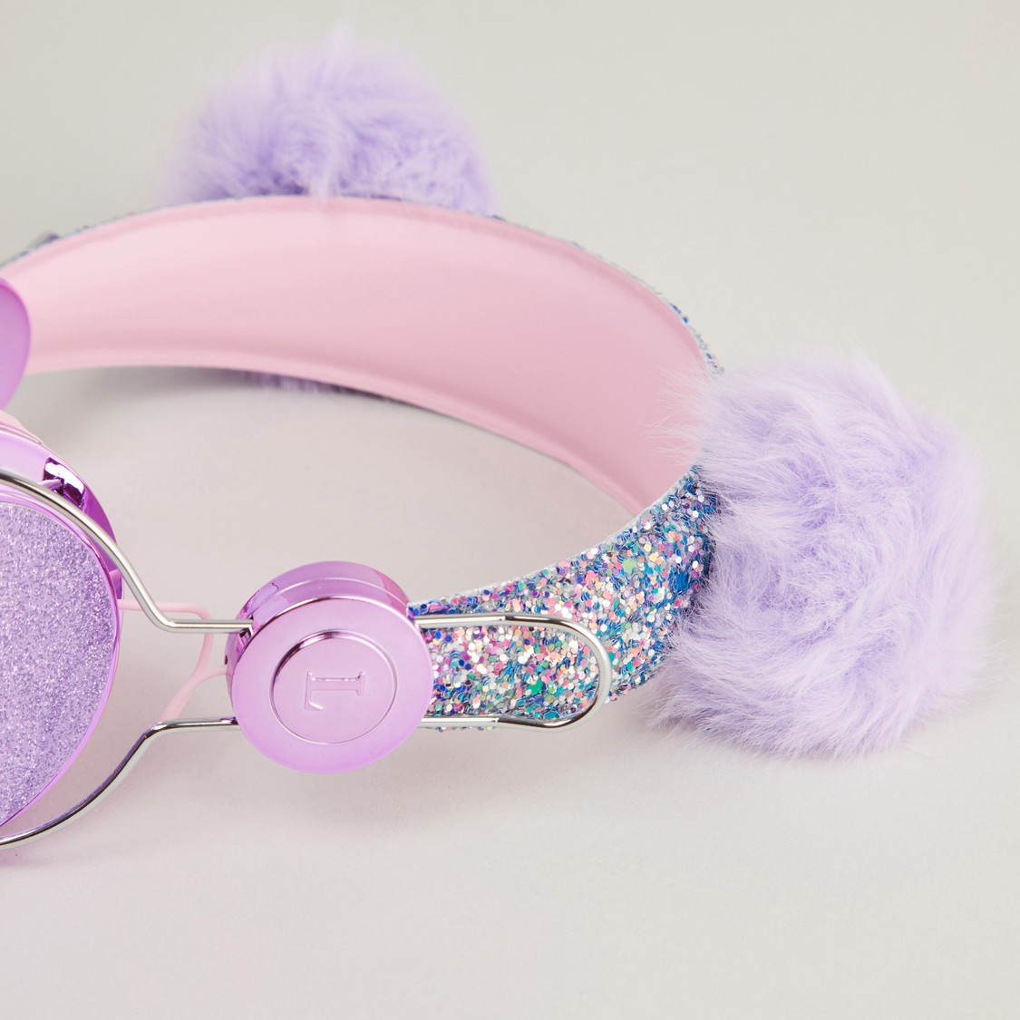 Glitter Detail Headphones with Pom Pom Detail
