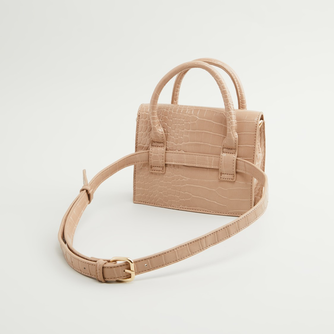 Textured Crossbody Bag with Magnetic Snap Closure and Detachable Strap