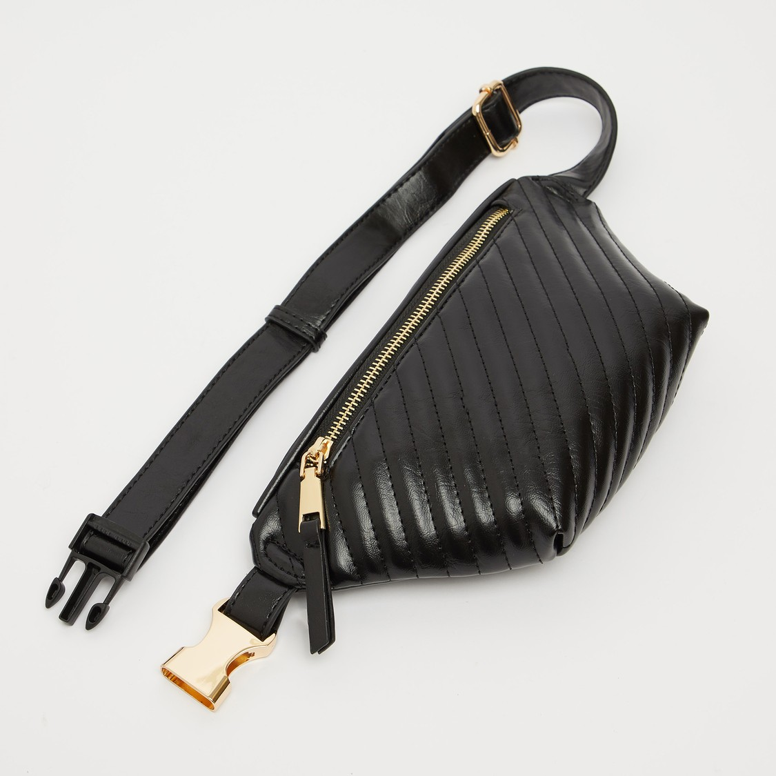 Textured Fanny Pack with Buckle Closure