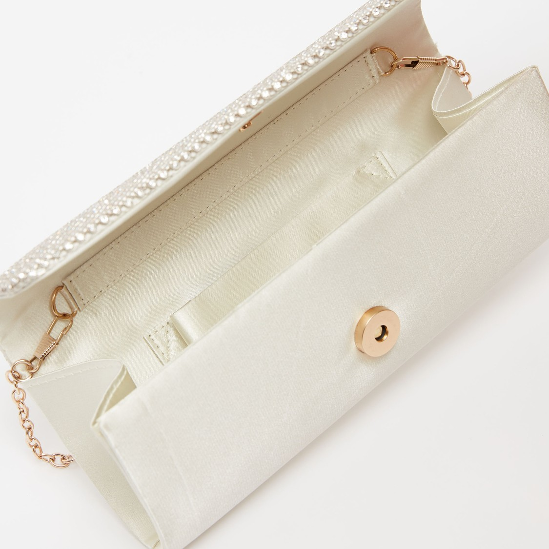 Embellished Clutch with Detachable Metallic Chain