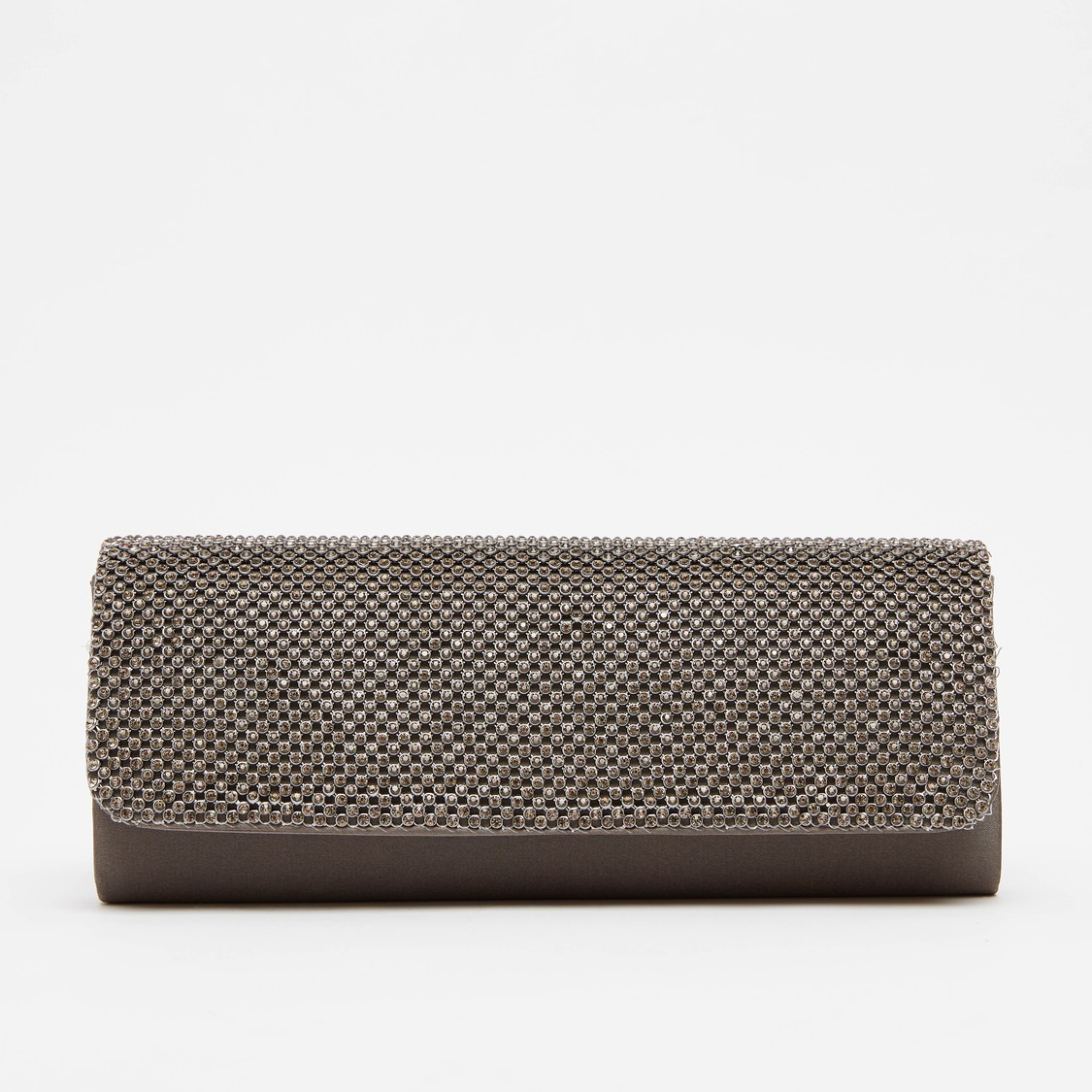 Studded Clutch with Magnetic Snap Closure and Metallic Chain