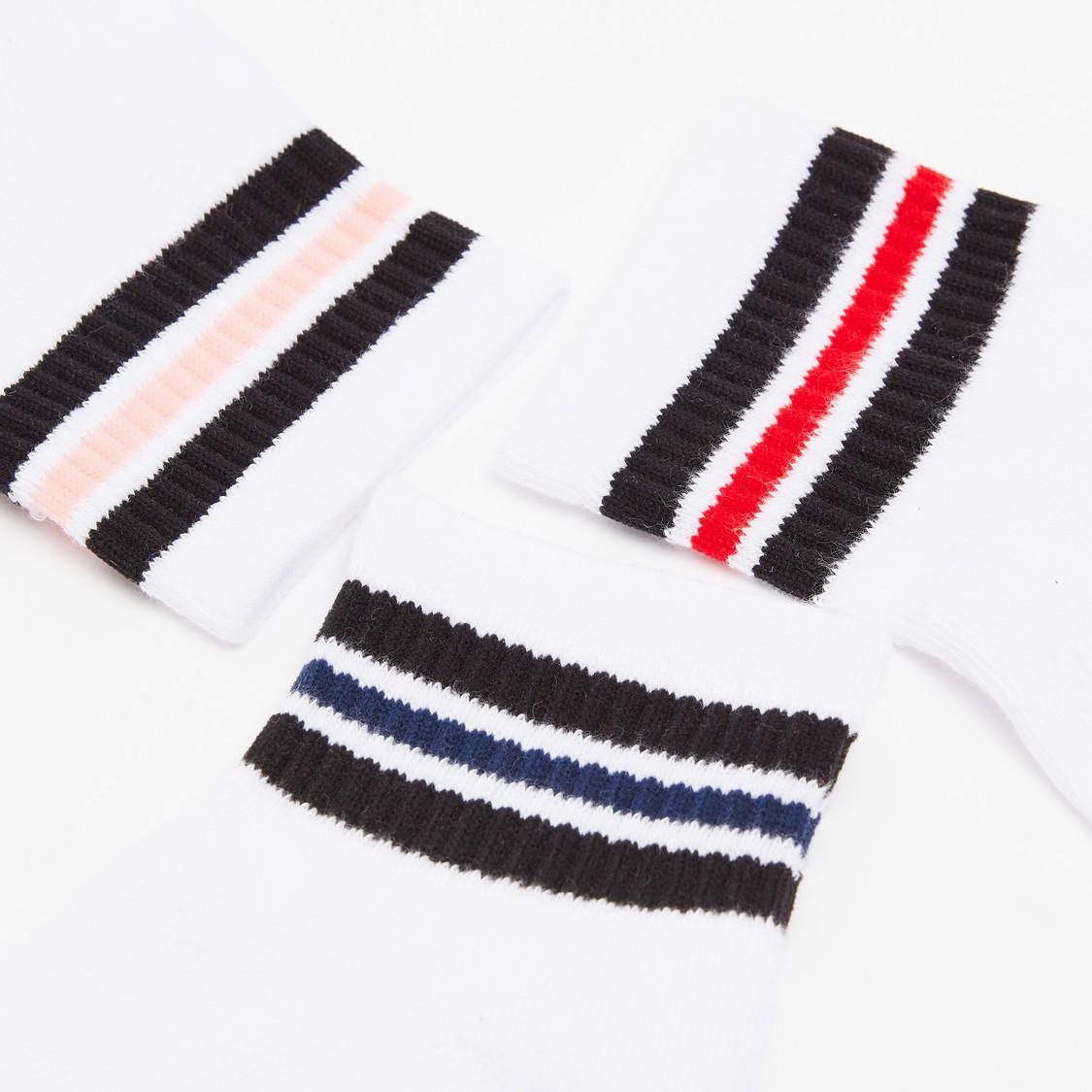 جوارب مقلمة بطول الكاحل - طقم من 3 أزواج