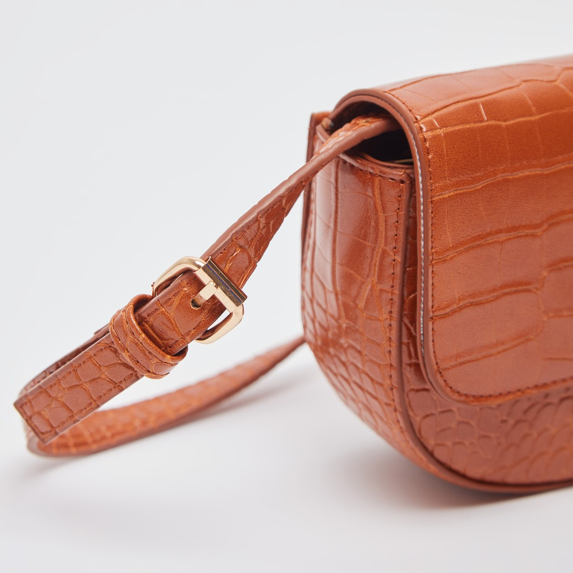 Reptilian Textured Crossbody Bag with Adjustable Sling Strap