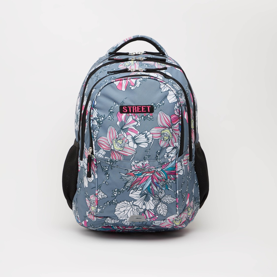 Printed Backpack with Adjustable Straps and Zip Closure - 19 Inches