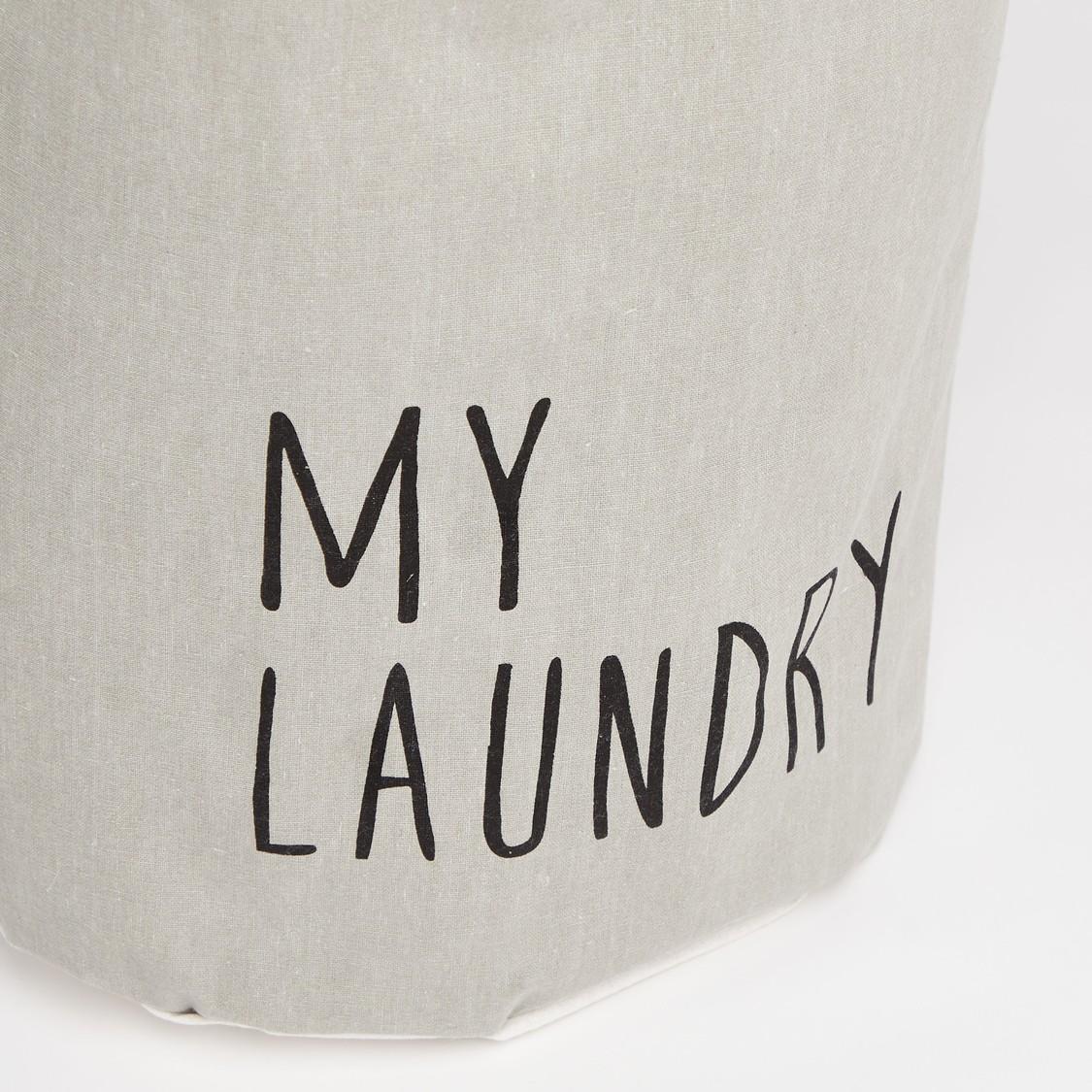 Slogan Print Laundry Hamper - 49x38 cms
