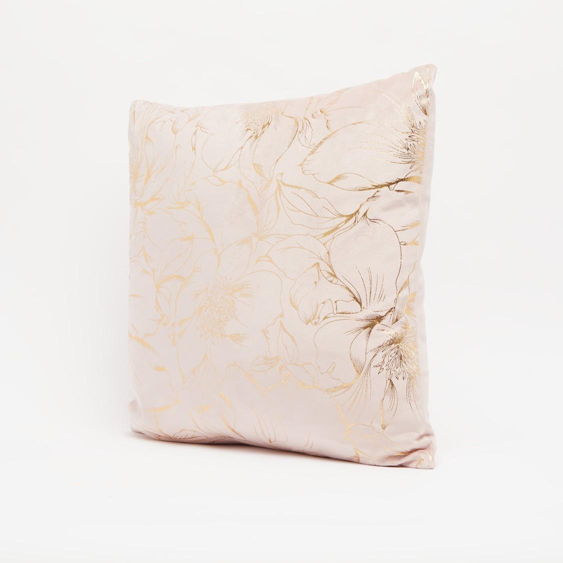 وسادة محشوة مربعة بطبعات فويل زهرية - 45x45 سم