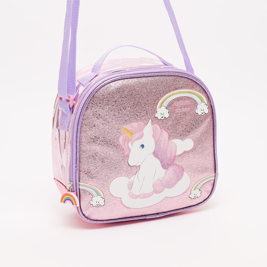 Unicorn Print Lunch Bag with Adjustable Strap and Zip Closure