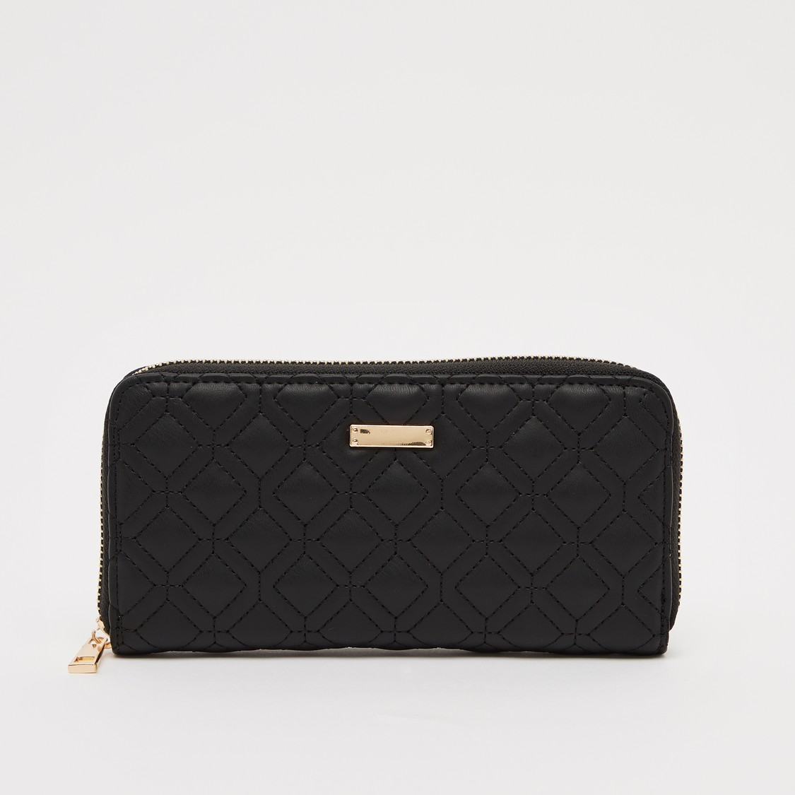 Textured Long Wallet with Zip Closure