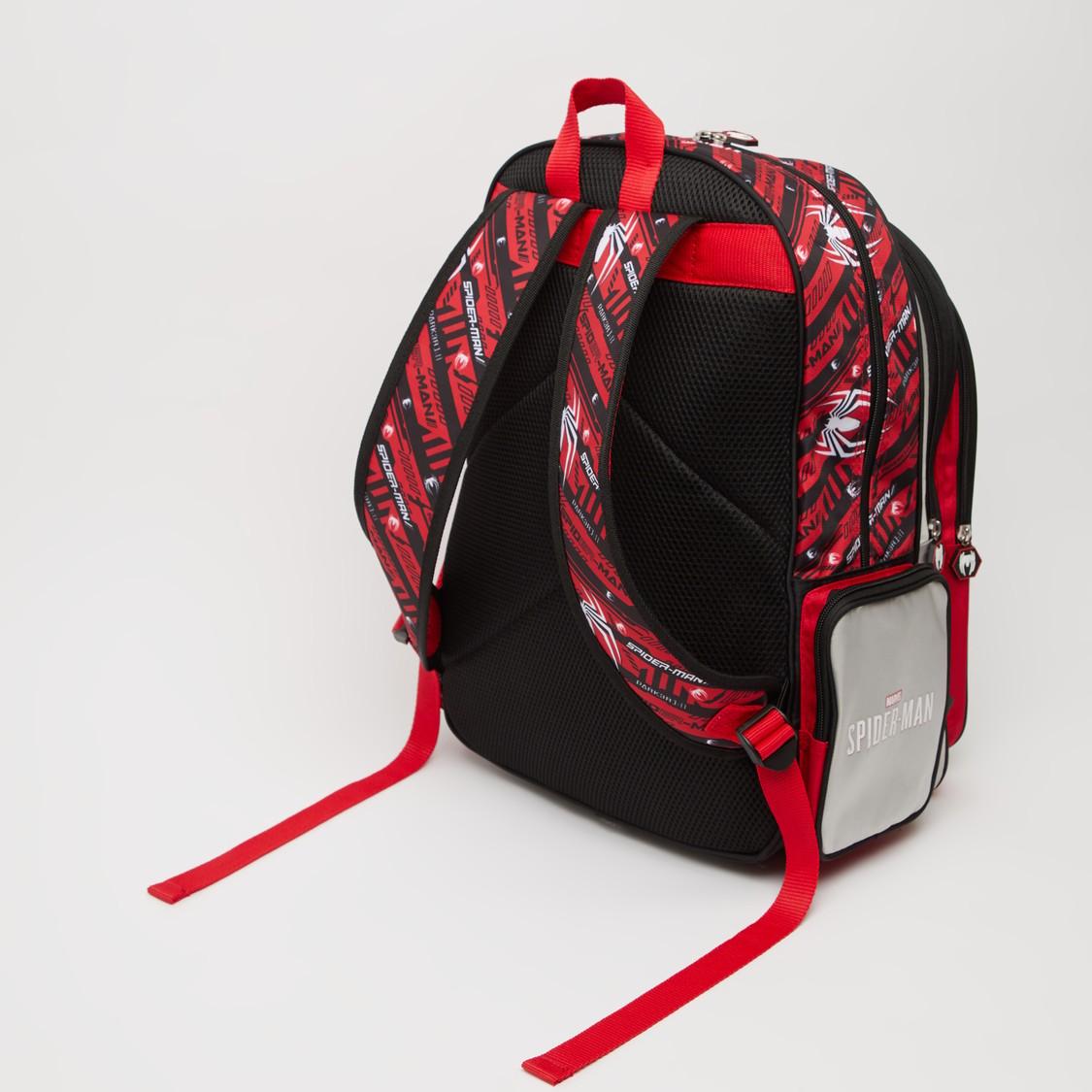 Spider-Man Print Backpack with Adjsutable Shoulder Straps - 18 Inches