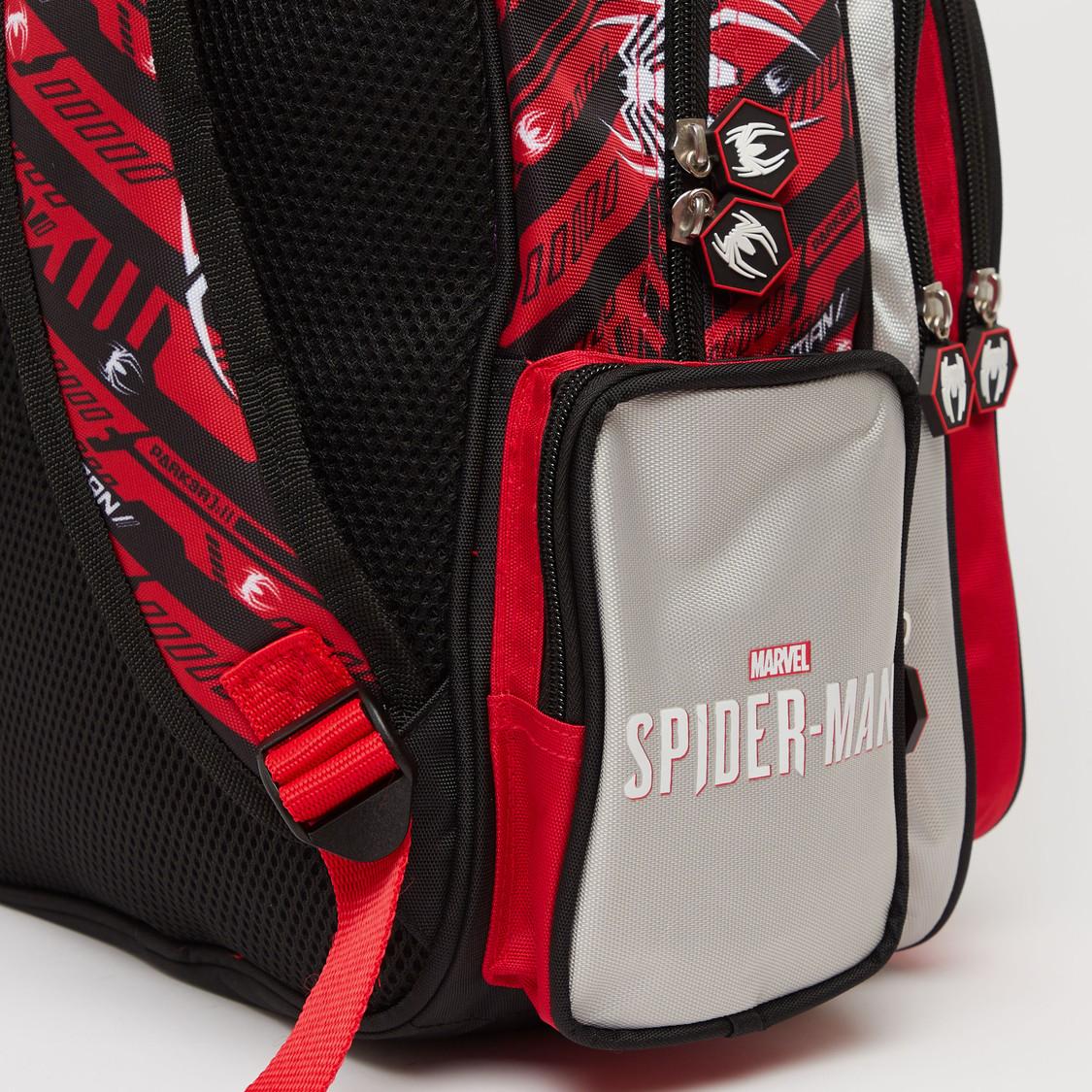 Spider-Man Print Backpack with Adjustable Shoulder Straps - 14 Inches