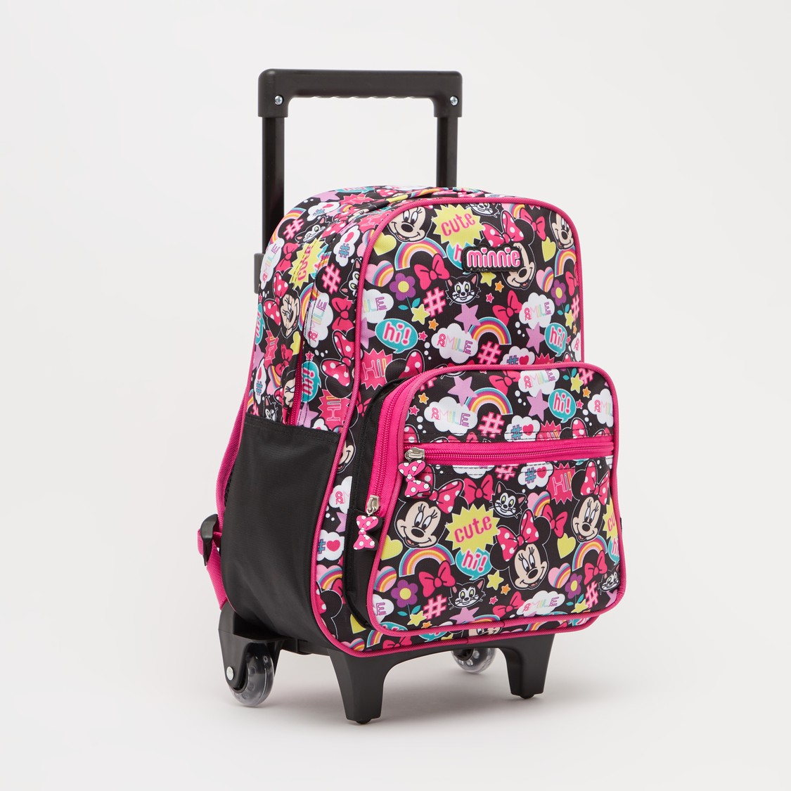 Minnie Mouse Print Trolley Backpack with Retractable Handle - 13 Inches