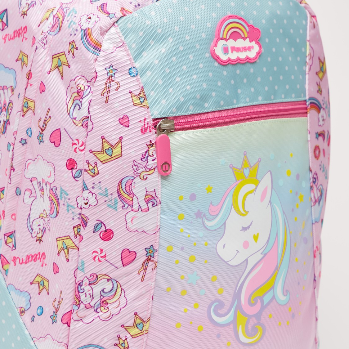 Unicorn Print Backpack with Adjustable Shoulder Straps - 16 Inches