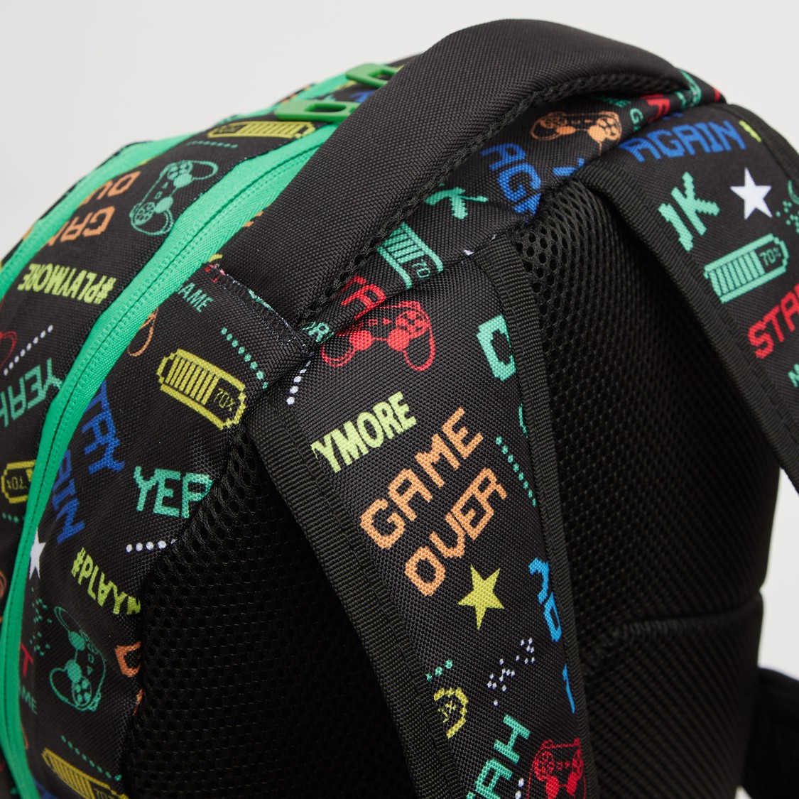 Printed Backpack with Adjustable Straps and Zip Closure - 18 Inches