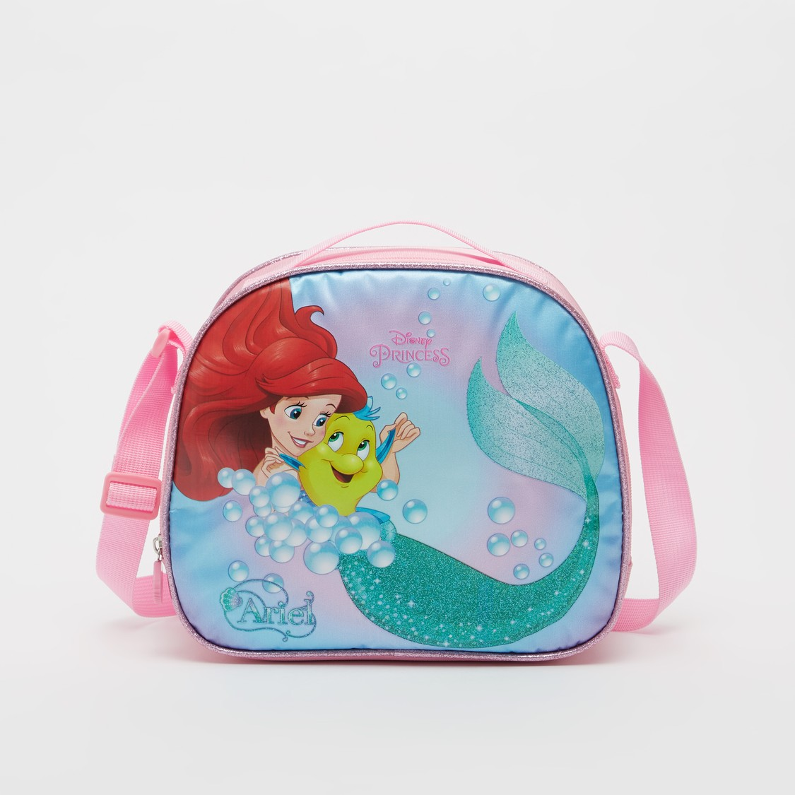 Princess Print Lunch Bag with Adjustable Strap and Zip Closure