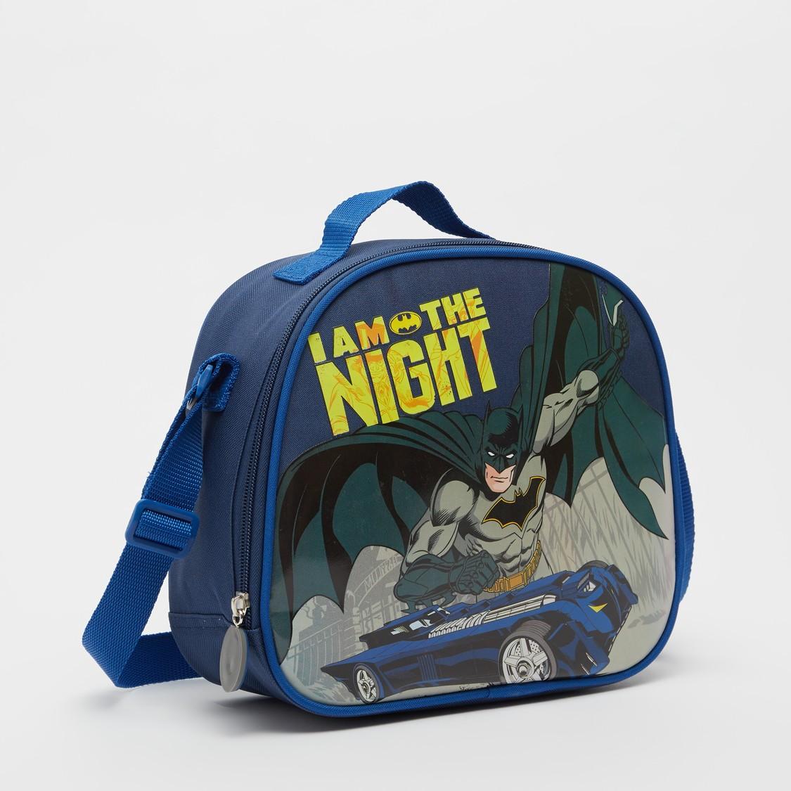 شنطة غداء بطبعات باتمان وحزام قابل للتّعديل