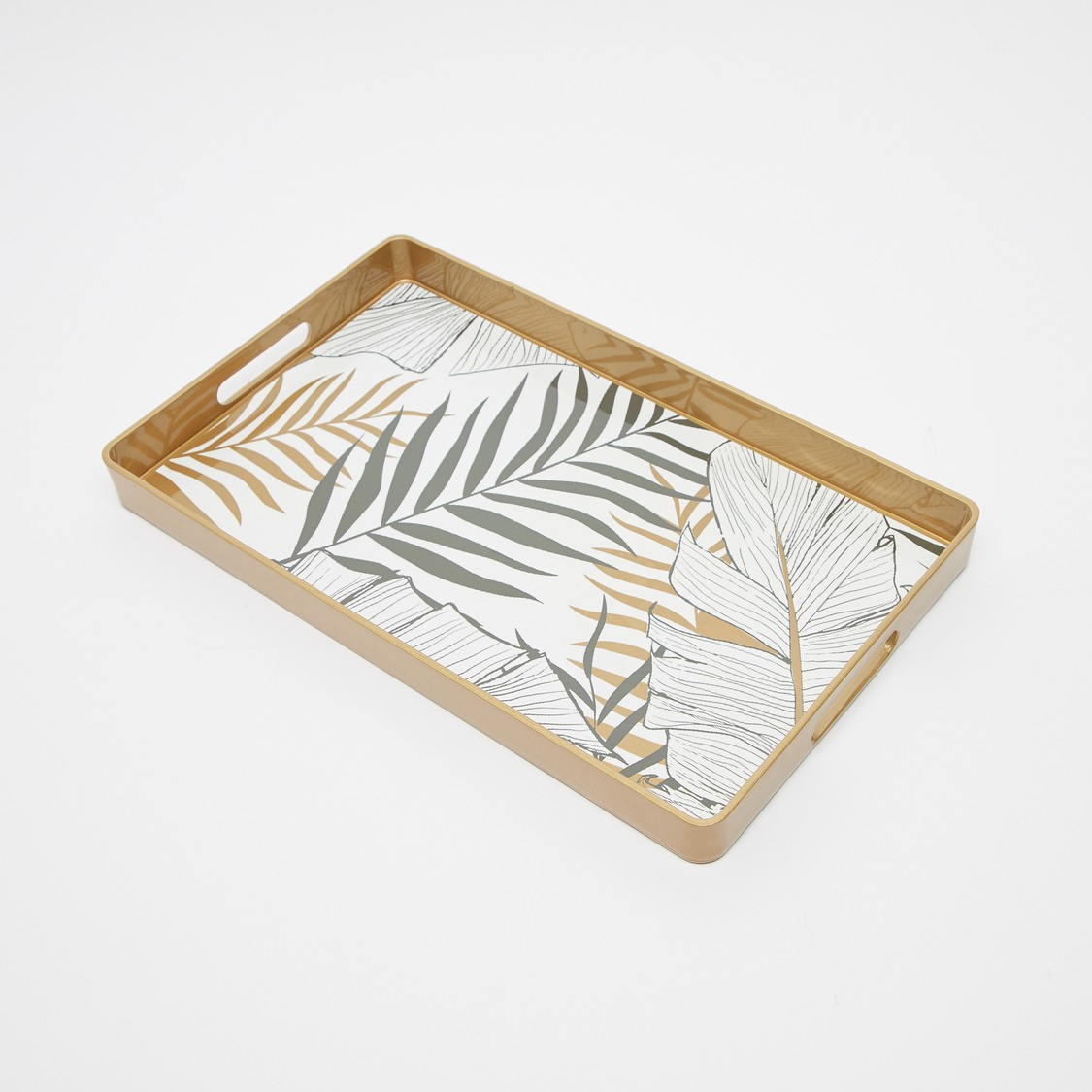 Printed Rectangular Serving Tray with Cutout Handles - 45.5x31x4 cms