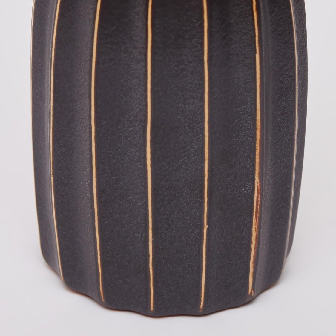 Stripe Detail Decorative Vase - 30x12 cms