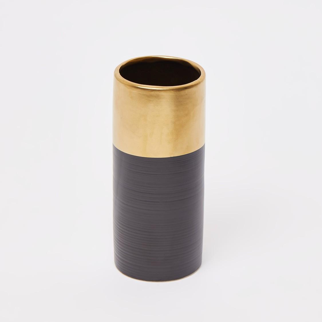 Textured Cylindrical Vase - 16.5x7 cms