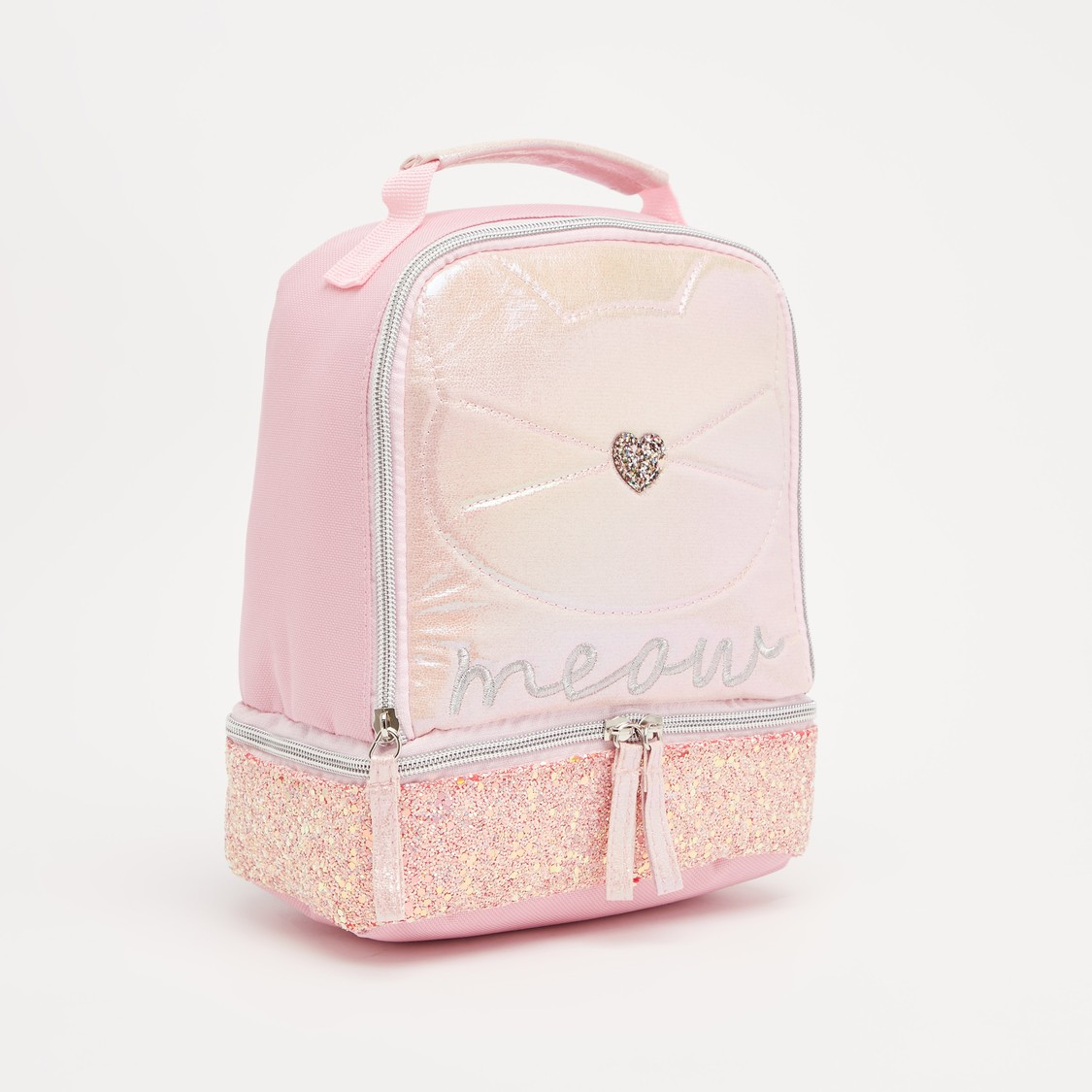 Embellished Lunch Bag with Strap and Zip Closure
