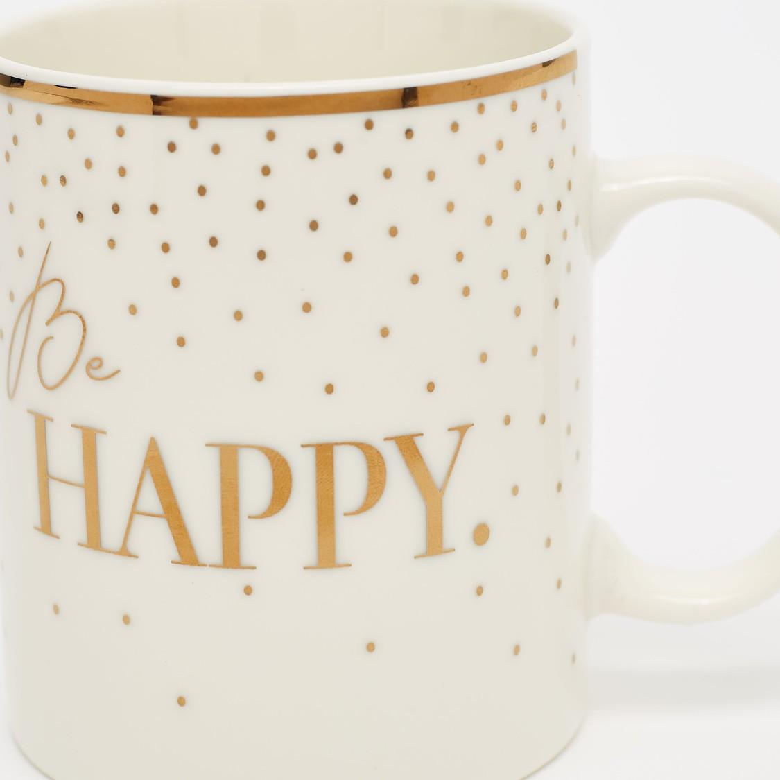 Slogan Print Mug with Curved Handle