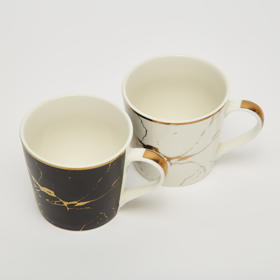 Set of 2 - Abstract Print Mug with Curved Handle