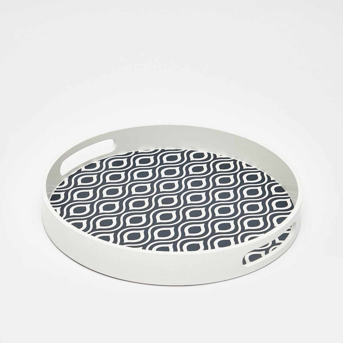 Printed Round Serving Tray with Cutout Handle - 30x4 cms
