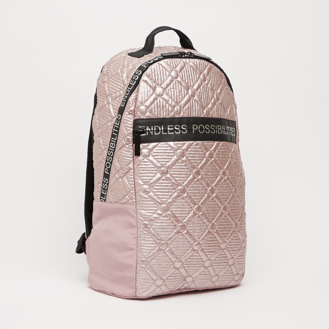 Textured Backpack with Adjustable Straps and Zip Closure - 18 Inches