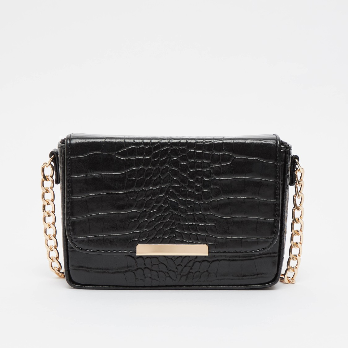 Crocodile Textured Crossbody Bag with Chain-Link Strap