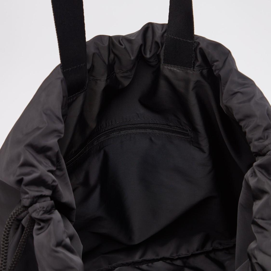 Text Print Gym Bag with Drawstring Closure
