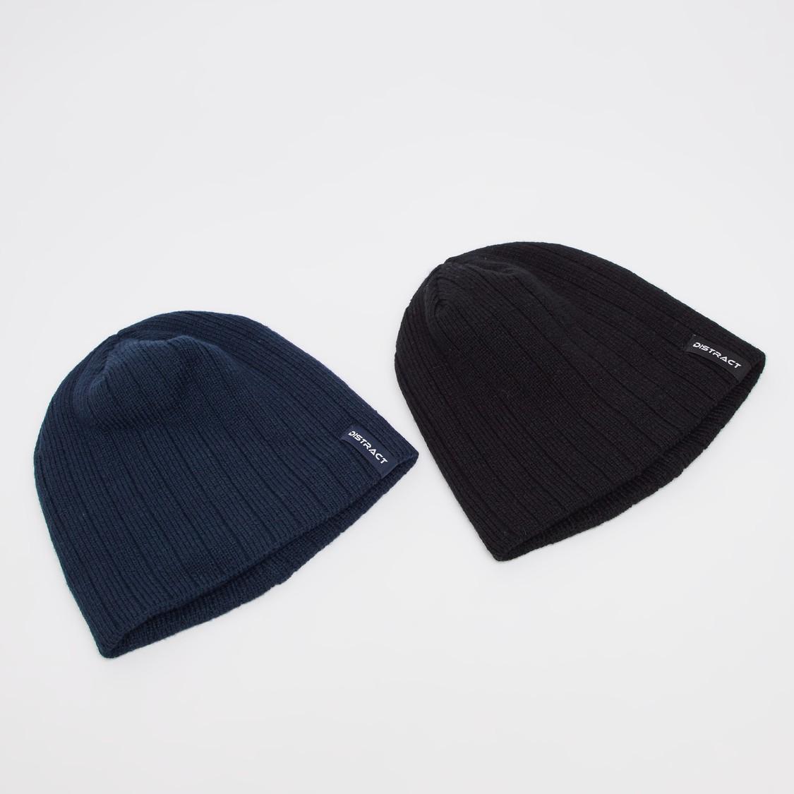 قبعة بيني بارزة الملمس- طقم من قطعتين