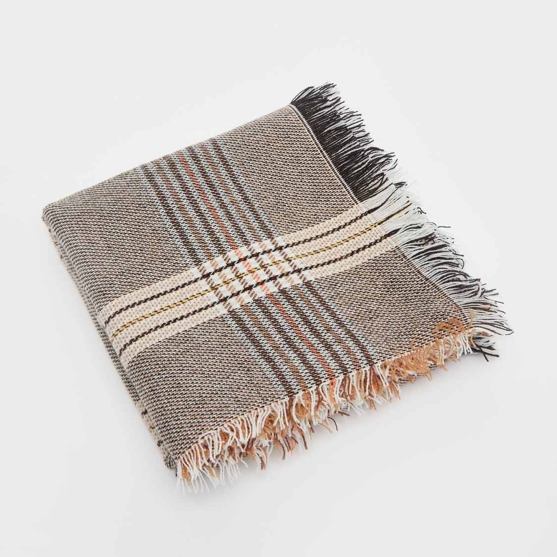 Wide Plaid Pattern Scarf with Frayed Hems