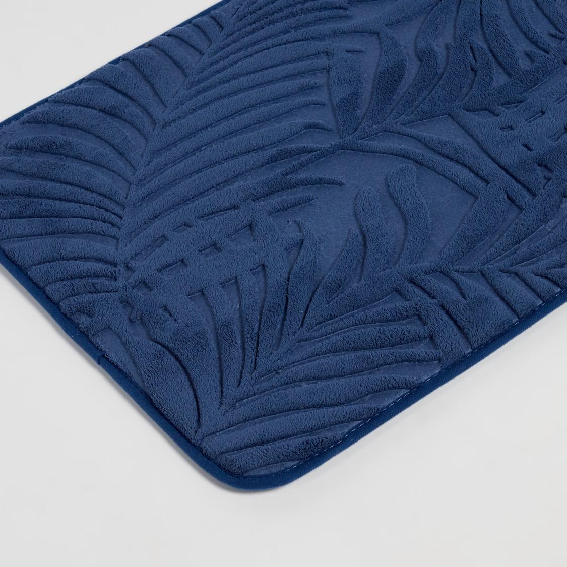 سجادة حمام مستطيلة بارزة الملمس بتفاصيل اوراق شجر - 70x45 سم