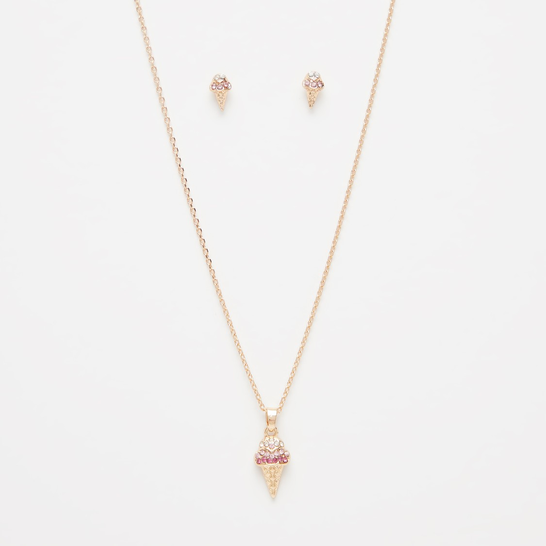 Studded Pendant Necklace and Earrings Set