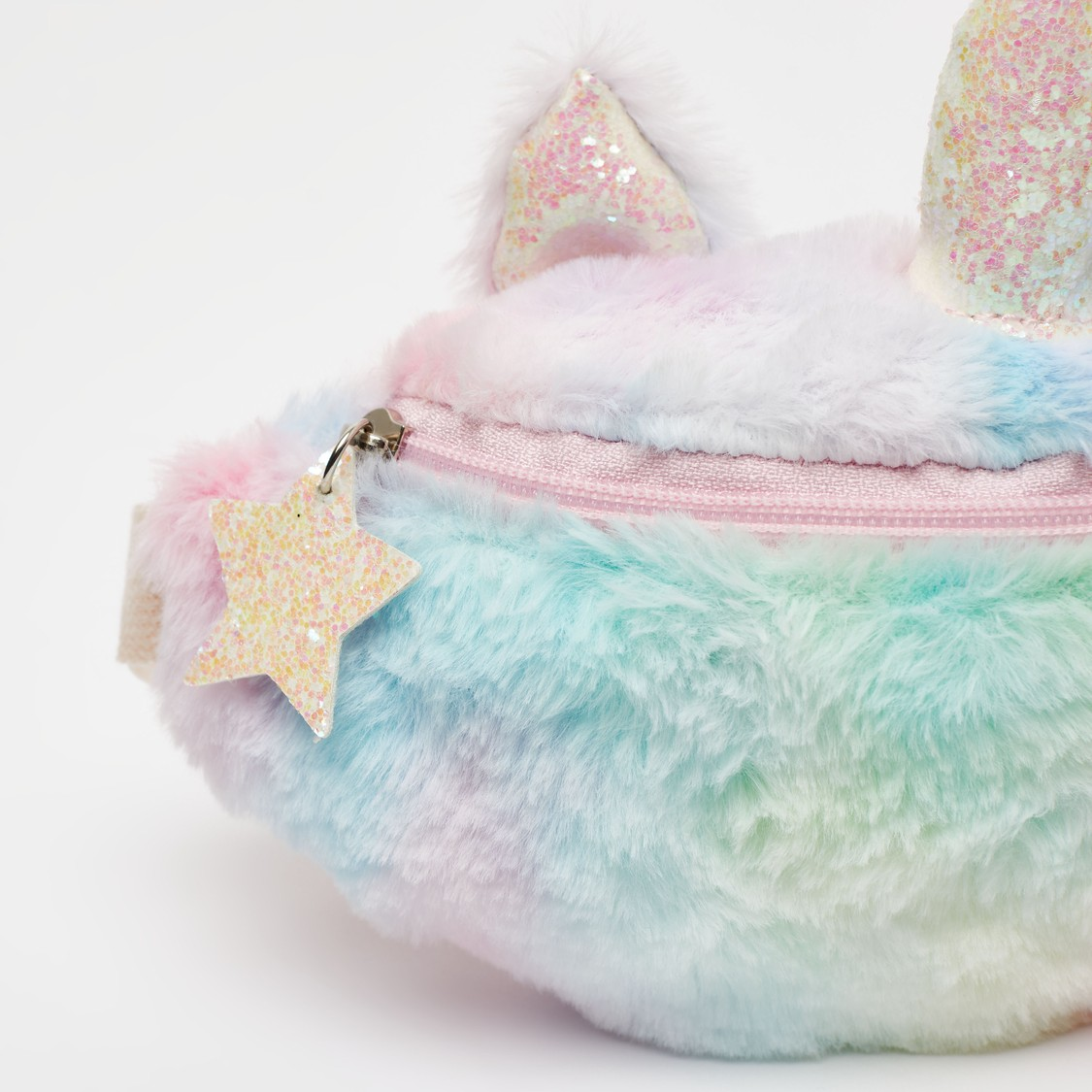 Plush Detail Waist Bag with Appliques and Star Slider