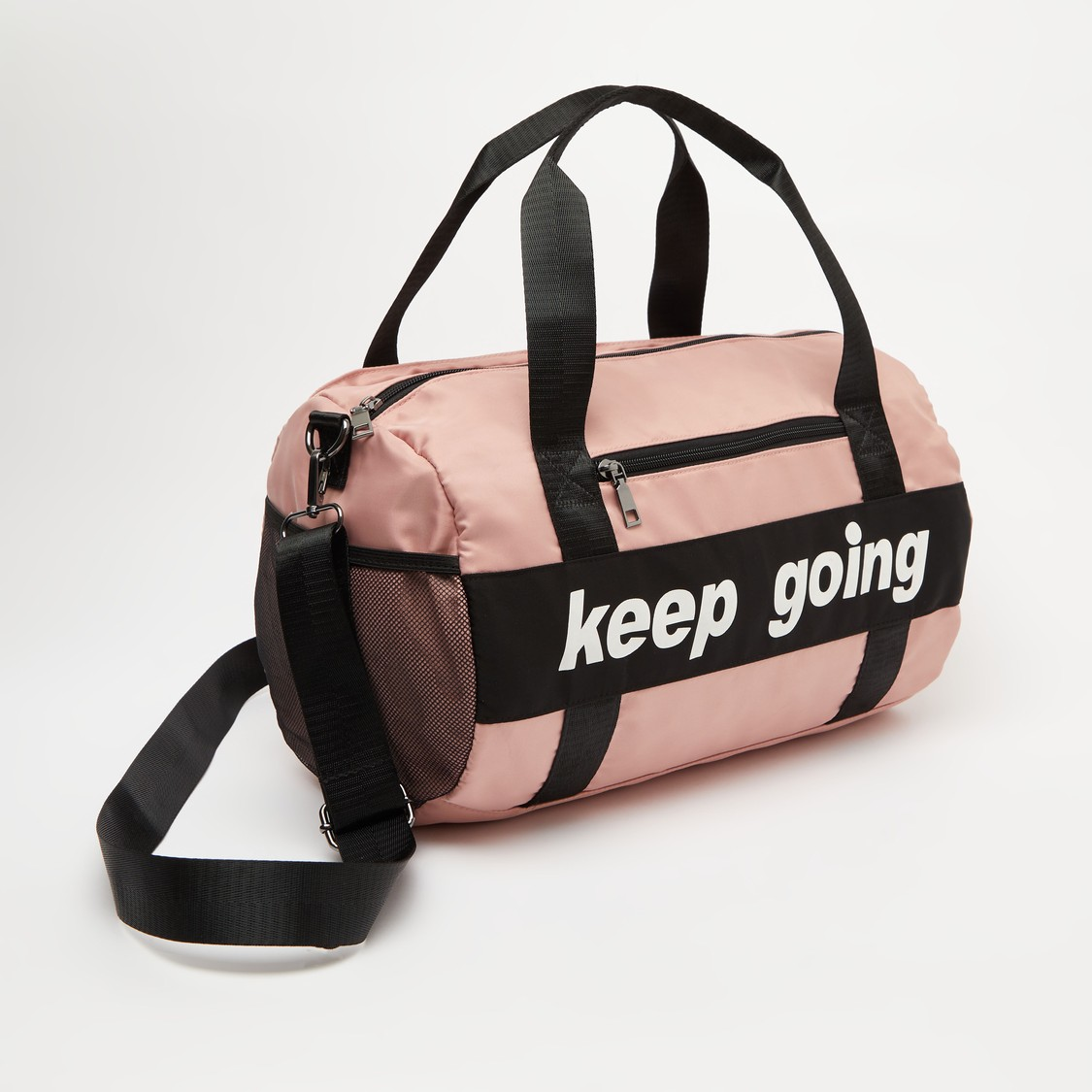 Printed Duffel Bag with Shoulder Straps