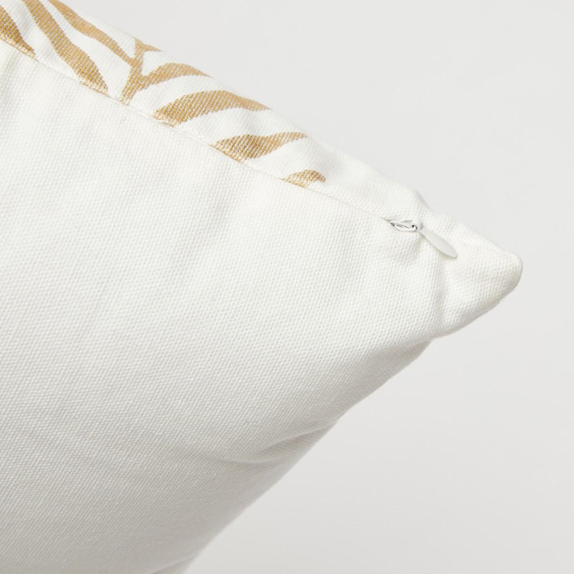وسادة محشوّة بطبعات ورق شجر بسحّاب إغلاق - 45x45 سم