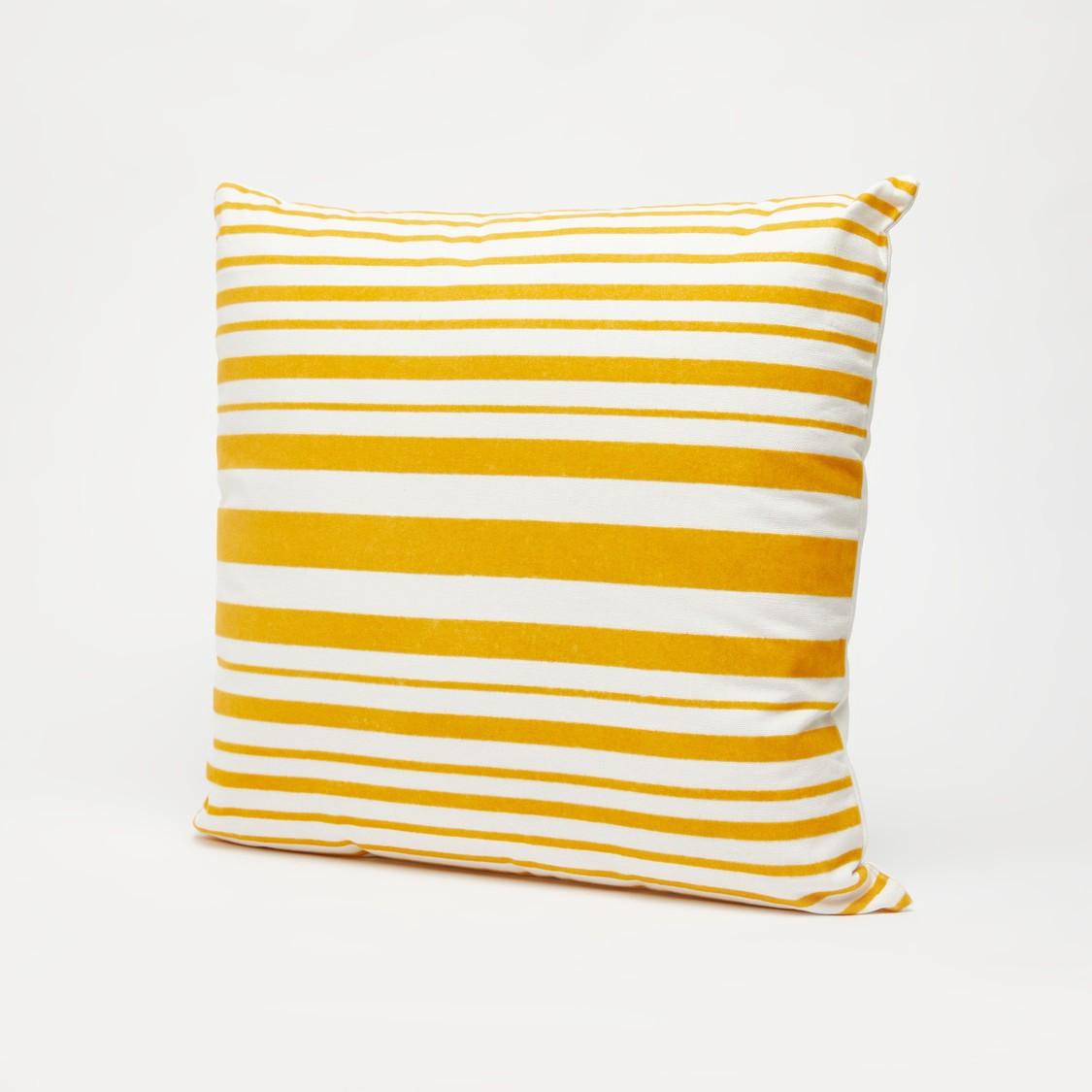 Striped Filled Cushion with Zipper Closure - 45x45 cms