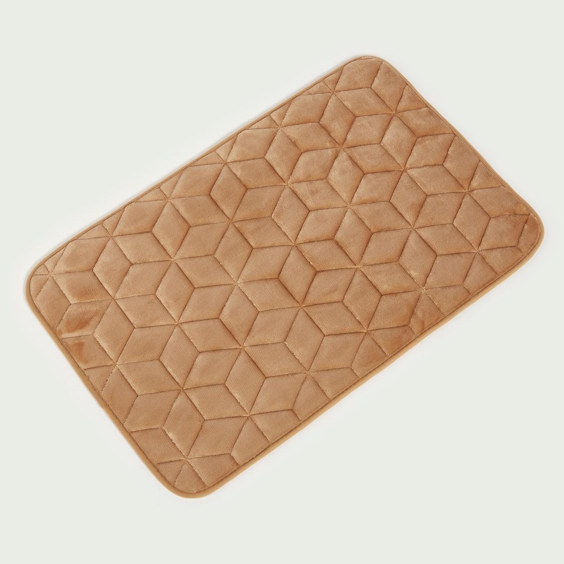 Textured Bath Mat and Contour U Shaped Mat Set - 45x70 cms and 45x45 cms