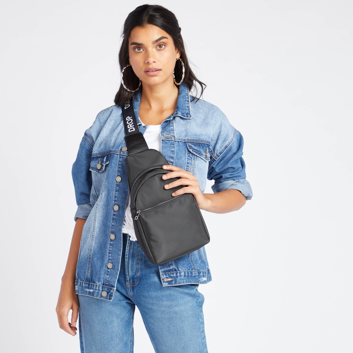 Solid Crossbody Bag with Printed Strap Detail