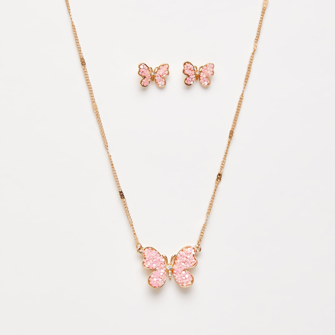 Necklace with Butterfly Shaped Pendant and Stud Earrings Set