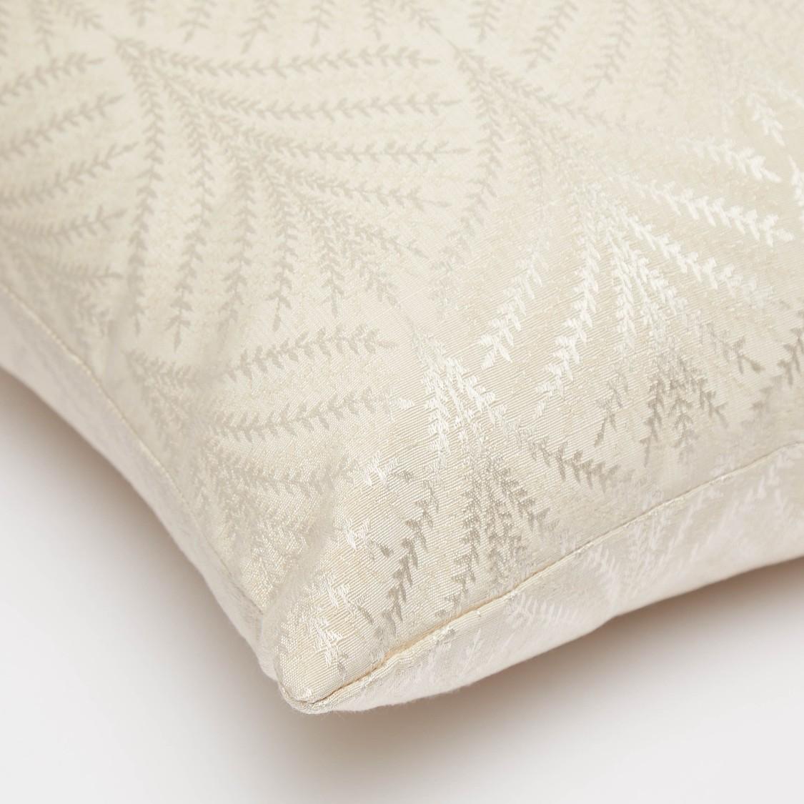 Leaf Print Filled Cushion with Zip Closure - 43x43 cms