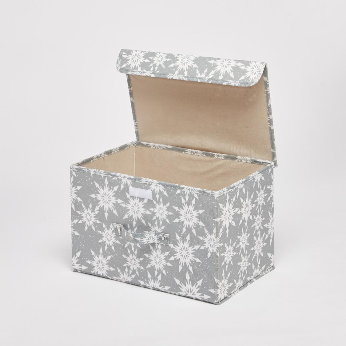 صندوق تخزين مستطيل الشكل بطبعات وغطاء ومقبض - 38x25x25 سم